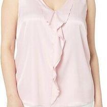 Kasper Womens Tank Top Blush Pink Size Xs Satin Ruffle Front v-Neck 59- 009 Photo