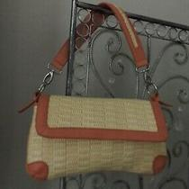 Kate Landry Blush and Beige Leather and Straw Shoulder Bag Purse  Mint Photo