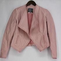 Kate & Mallory Basic Jacket Xs Faux Leather Cascade Front Blush Pink Photo