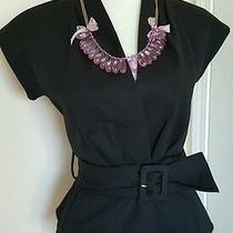 Kate Spade Black Cap Sleeve Belted Blazer Jacket & Necklace Size  0 Photo