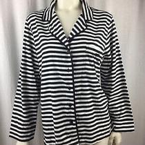 Kate Spade Black & White Striped Button Up Blazer Style Cotton Jacket Size Xl Photo