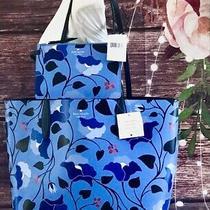 Kate Spade Bloom Large Reversible Tote Shoulder Bag Enchanted Forest Blue Pouch Photo