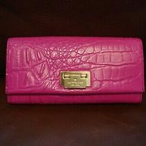 Kate Spade Bright Pink Croc Alligator Leather Lock Front Wallet Clutch Photo