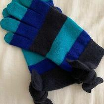 Kate Spade Brrrr Ny Royal Blue Black Striped Wool Gloves Bow Winter Fall 1 Size Photo