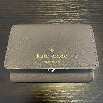 Kate Spade Business Card Holder And/or Wallet (Gray Blue With Cream Liner) Photo