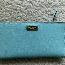 Kate Spade Cameron Large Slim Bifold Blue Wallet Great Condition Photo