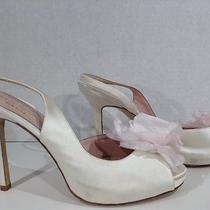 Kate Spade Camilla Women's Size 7 Ivory Satin Slingback Heels Shoes X3-2162 Photo