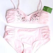Kate Spade Casablanca Blush Bikini 2 Piece Swimsuit Sz S New 337 High Waist Photo
