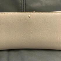 Kate Spade Cream Beige Leather Bi-Fold Credit Card Zip Pouch Wallet Photo