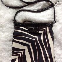 Kate Spade Cross Body Purse Zebra Black Tan Patent Leather Adjustable Strap Photo