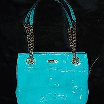 Kate Spade Darcy Knightsbridge Peacock Croc Aqua Patent Leather Purse Bag  Photo