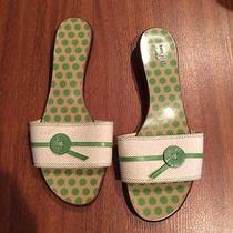 Kate Spade Dressy Sandal Flats Green Button Sz 8 Polka Dot Bottom Photo