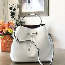 Kate Spade Eva Large Bucket Shoulder Tote Bag Crossbody White Leather Gold 379 Photo