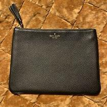Kate Spade Gorgeous Leather Zip Clutch Black Mint Photo