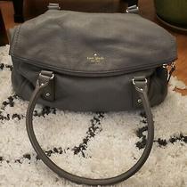 Kate Spade Gray Pebbled Leather Fold Over Hobo Large Handbag Photo