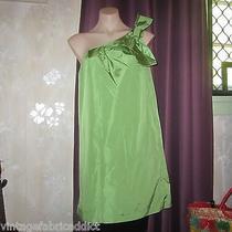 Kate Spade Green Silk Taffeta Dress Bow Detail Inseam Pockets Designer Size L  Photo