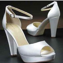 Kate Spade Gretchen Satin Solid Ivory Platform Wedge Wedding Shoes 6.5 Photo