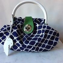 Kate Spade Hand Bag Tote Blue / White Canvas Green Leather Accent Parrot Pendant Photo