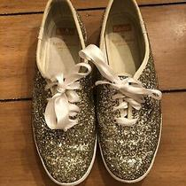 Kate Spade Keds Gold Glitter Off-White Sneakers - Womens Size 6.5 Photo