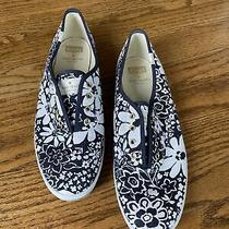 Kate Spade Keds Slip on Navy White Floral Sneaker Size 9 Photo