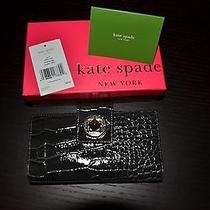 Kate Spade Knightsbridge Stacy Croc Embossed Graphite Patent Leather Wallet  Photo