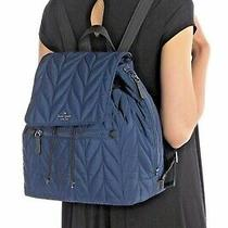 Kate Spade Large Flap Backpack Ellie Nightcap Quilted Nylon Blue 299 New Tags  Photo