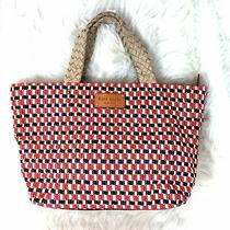 Kate Spade Large Woven Red White Blue Natural Tulum East West Tote Bag Photo