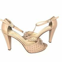 Kate Spade Leather Open Toe Ankle Strap Heels Size 8 Bow Read Photo