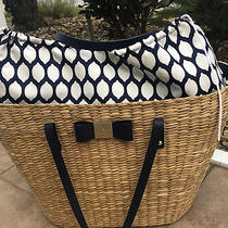 Kate Spade Lined Navy & White Pattern  Leather and Straw Beach Bag Photo