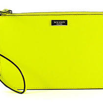 Kate Spade Lolly Newbury Lane Electric Citron Leather Wristlet Clutch Wallet New Photo