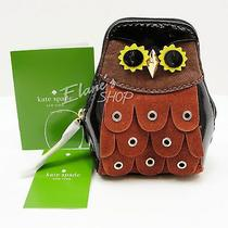 Kate Spade Maximilian Minerva Owl Coin Purse Adorable Suede Patent Leather Nwt Photo