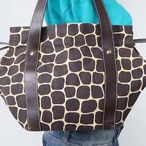 Kate Spade Med Brown Beige Canvas Leather Shoulder Hobo Tote Satchel Purse Bag Photo