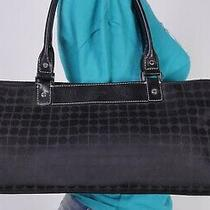 Kate Spade Medium Black Leather Fabric Shoulder Hobo Tote Satchel Purse Bag Photo