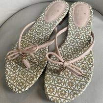 Kate Spade Mistic Flip Flop Leather Bow Charm Blush Pink Thong Sandal Sz 10 Photo