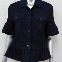 Kate Spade New Dark Blue Denim Ruffled Flounce Short Sleeve Jean Jacket Sz Xs Photo