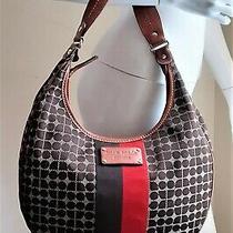Kate Spade New York Black Canvas Leather Trim Striped Hobo Purse Handbag  Photo
