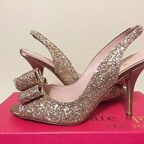 Kate Spade New York Charm Heel Rose Gold Glitter / Satin Women's Heels Size 8 M Photo