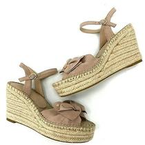 Kate Spade New York Fanni Platform Wedge Espadrille Sandals Blush Pink Suede 8m Photo