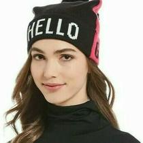 Kate Spade New York Ks1001792 Hello Gorgeous Beanie Hat Begonia Bloom Pink/black Photo