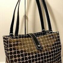 Kate Spade New York Logo Print Black Leather Trm Tote Shopper Shoulder Bag Purse Photo