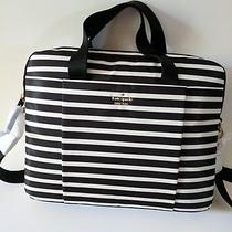 Kate Spade New York Nylon Laptop Bag Black & White Stripe New Photo
