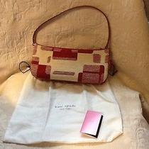 Kate Spade New York Red & Cream Television Pattern Fabric Shoulder Bag/dust Bag Photo