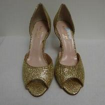 Kate Spade New York 'Sage' Glitter Peep-Toe d'orsay Pump Gold Us-5b Msrp 298 Photo