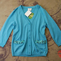 Kate Spade New York Tiffany Blue Jewel Pocket Wool Cardigan Sweater Top S 298 Photo