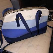 Kate Spade New York White Navy Blue Leather Stripe Canvas Shoulder Crossbody Bag Photo