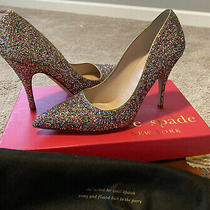 Kate Spade Ny Licorice Too Gold Multi Glitter 7.5 Pumps Heels Shoes 300 Photo