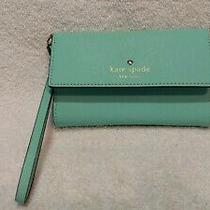 Kate Spade Ny Turquoise Trifold Wallet Detach Strap 5 Slots Clear Id Mirror Photo