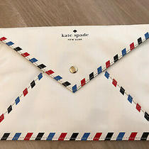 Kate Spade Par Avion Air Letter Envelope Clutch Bag White Red Blue Patent Rare Photo