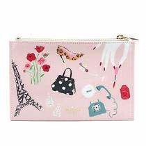 Kate Spade Paris Pencil Makeup Cosmetic Pouch Case Purse Clutch Pink Blush Photo