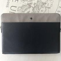 Kate Spade Polly Laptop Sleeve W/strap Pebbled Navy & Gray Leather 8aru6431 New Photo